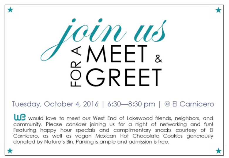 WE Lakewood Meet & Greet Tuesday, October 4 @ 6:30 pm